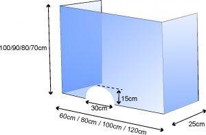 przerody ochronne z plexi 5mm antywirusowe, wymiary